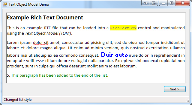 Text Object Model Demo